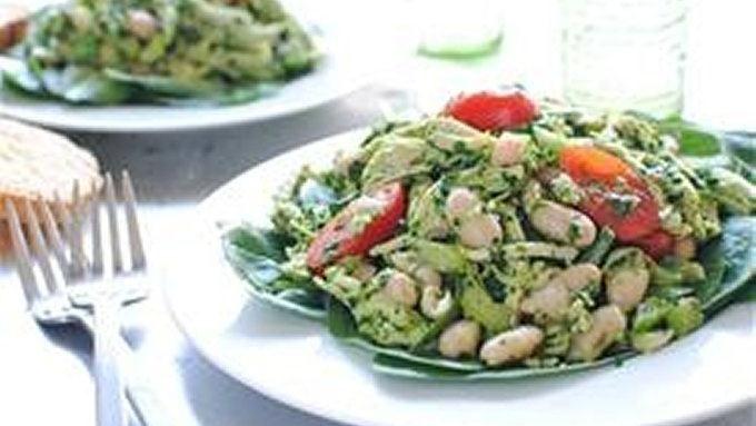 Poached Chicken Pesto Salad