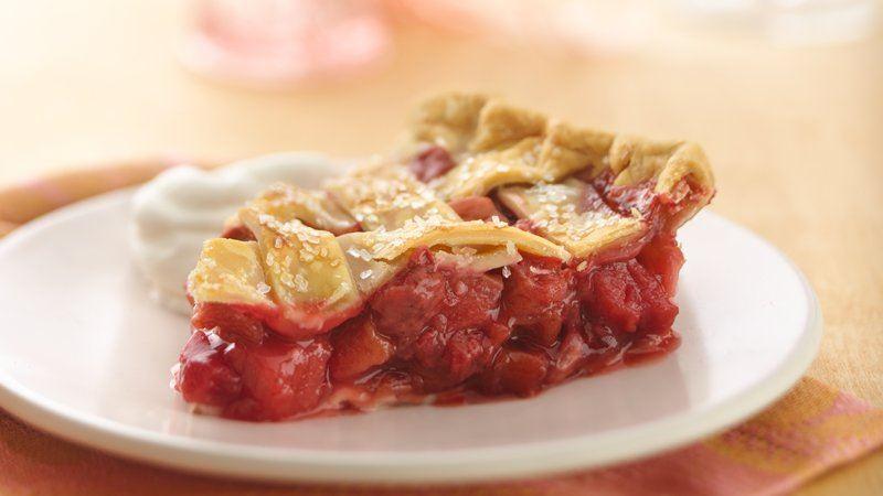 Lattice Top Strawberry Rhubarb Pie recipe from Betty Crocker