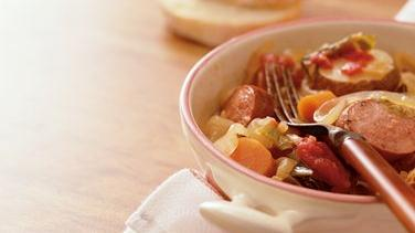 Slow Cooker Harvest Sausage and Vegetable Casserole