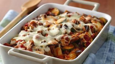 Cheesy Rigatoni with Eggplant Sauce