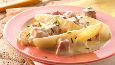 Grilled Ham and Potatoes au Gratin