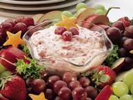 Cranberry Fluff Fruit Dip with Fruit Wreath