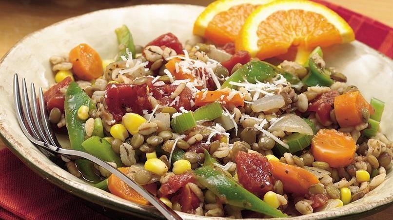 Lentil-Barley-Vegetable Skillet