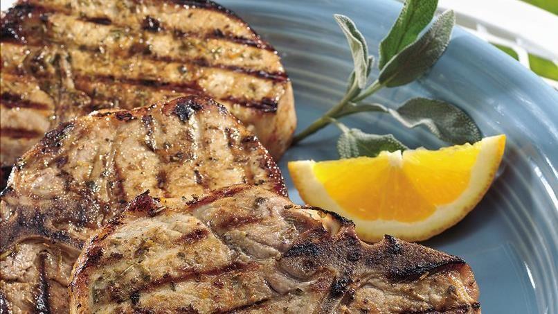 Orange-Brined Pork Chops with Herb Rub