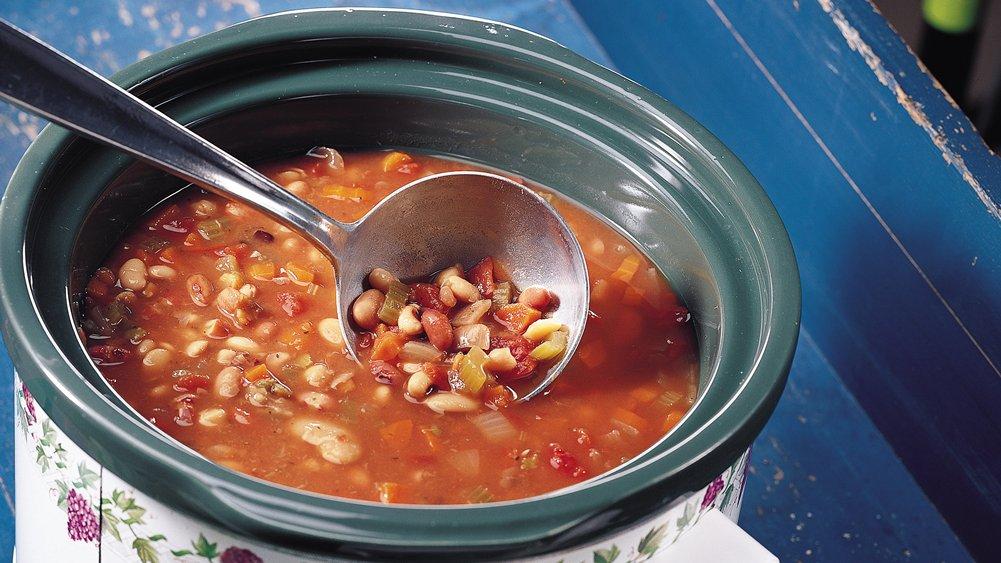Slow-Cooker Easy Multi-Bean Soup