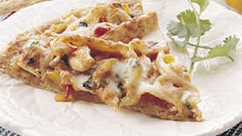 Bread Machine Chicken Fajita Pizza