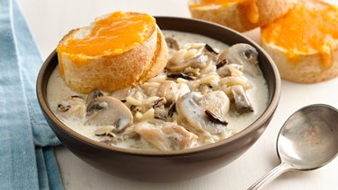 Creamy Chicken Wild Rice Soup with Cheddar Toasts