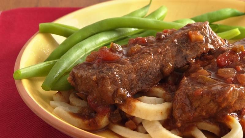 Slow-Cooker Salsa Swiss Steak with Noodles