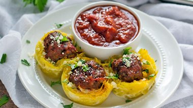 Spaghetti Squash and Meatball Cupcakes