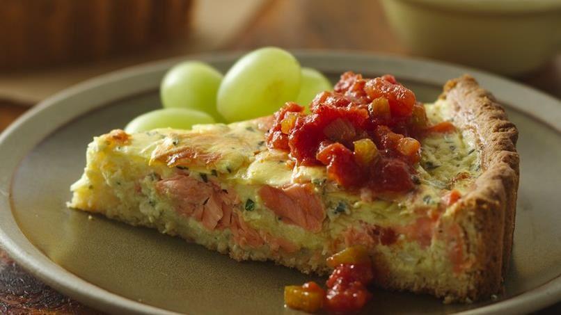 Salmon Quiche with Easy, Tasty Tomato Sauce