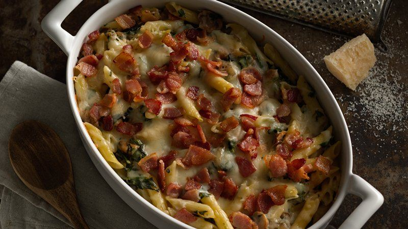 Baked Penne with Mushrooms, Bacon and Spinach