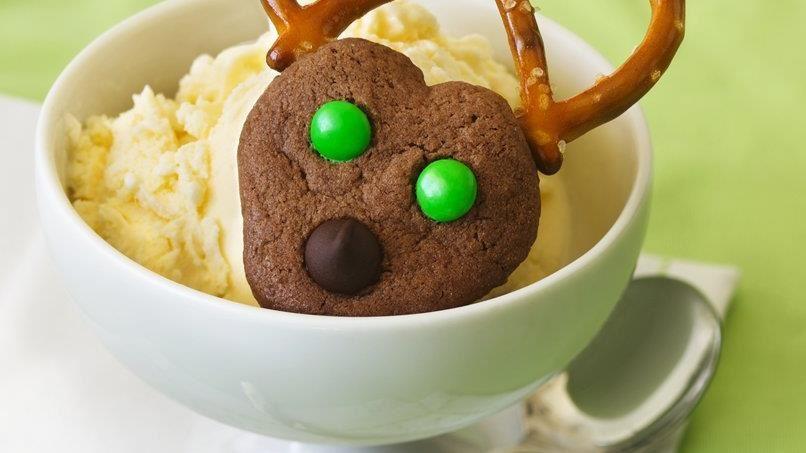 Chocolate Spritz Reindeer Cookies
