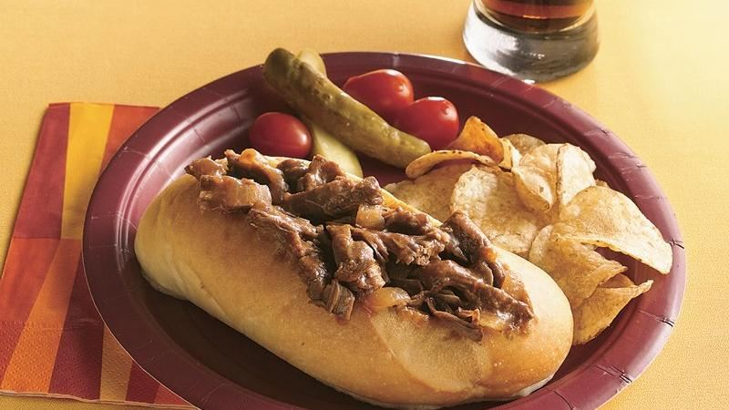 Slow-Cooker Tangy Barbecued Beef Sandwiches