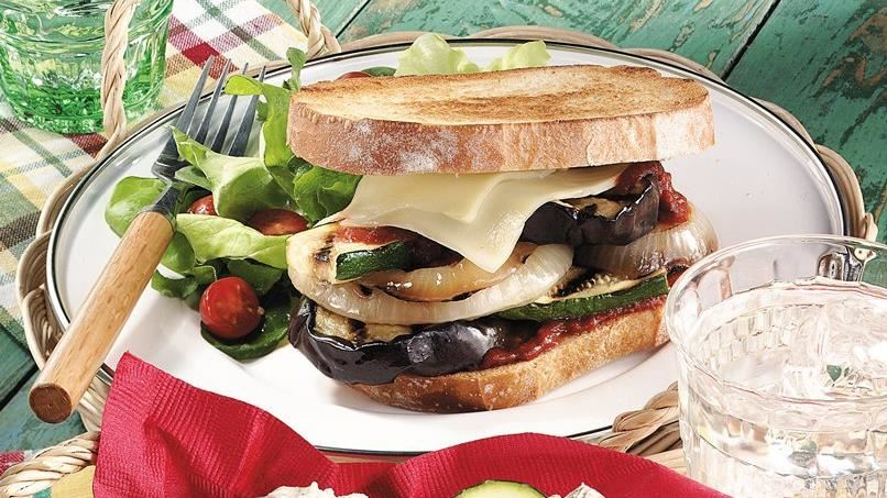 Grilled Eggplant Pizza Sandwiches