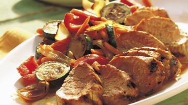Grilled Pork Tenderloins with Vegetable Medley