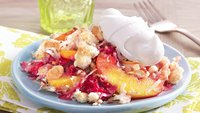 Peach and Raspberry Crumble with a Browned Butter Coconut Topping