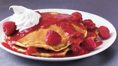 Orange Pancakes with Raspberry Topping