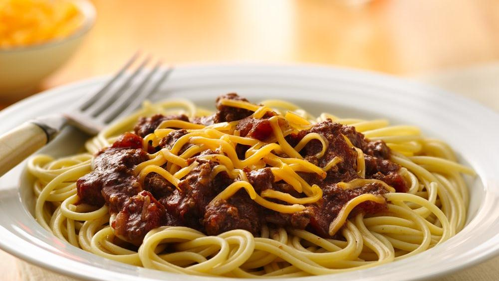 Slow-Cooker Chili Over Spaghetti