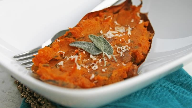 Twice-Baked Sweet Potatoes with Caramelized Shallots and Sage