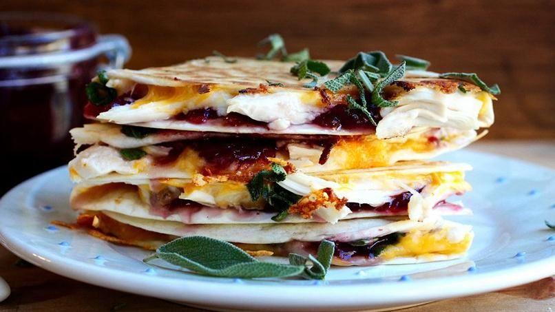Turkey, Cranberry and Sage Quesadillas