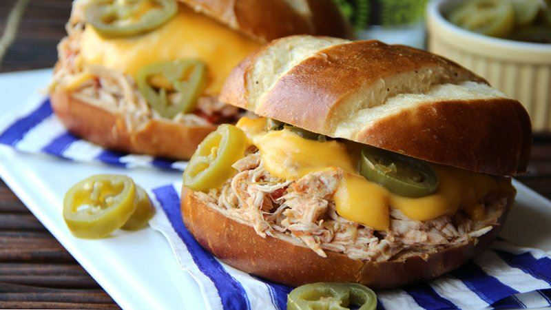 Slow-Cooker Jalapeño Popper Chicken Sandwiches