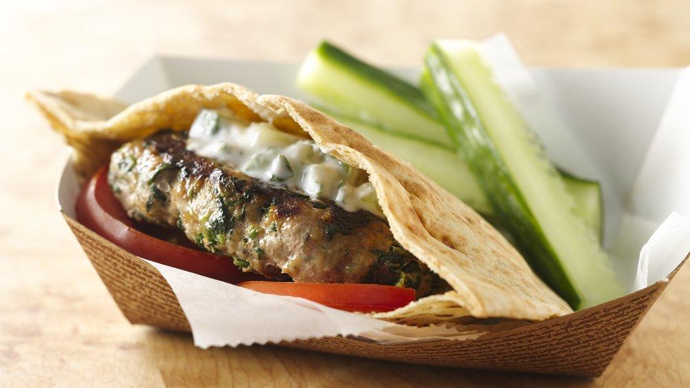 Greek Turkey Burgers with Minted Cucumber Sauce