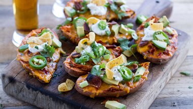 Slow-Cooker Chicken Chili-Stuffed Sweet Potatoes