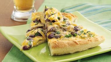 Cheesy Bean and Chicken Pizza