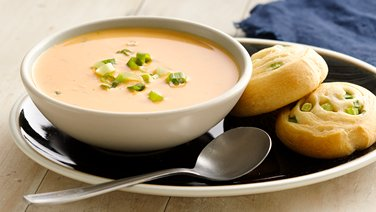 Creamy Chipotle Butternut Squash Soup with Onion Crescent Rounds