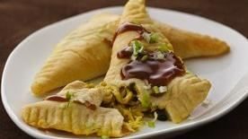 Indonesian Chicken Turnovers with Spicy Peanut Sauce