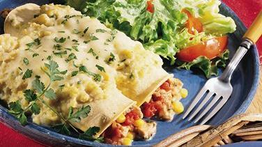 Corn and Chicken Enchiladas