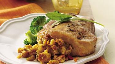 Sage and Maple Cornbread Stuffed Pork Chops