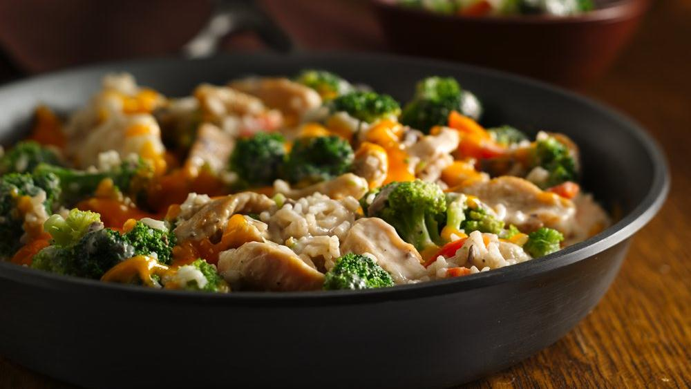 Broccoli Cheese Chicken and Rice Skillet