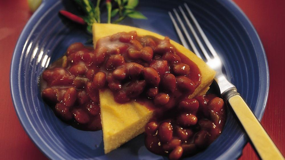 Cheese Polenta with Spicy Chili Topping