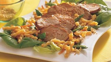 Grilled Asian Pork and Pasta with Crunchy Noodles