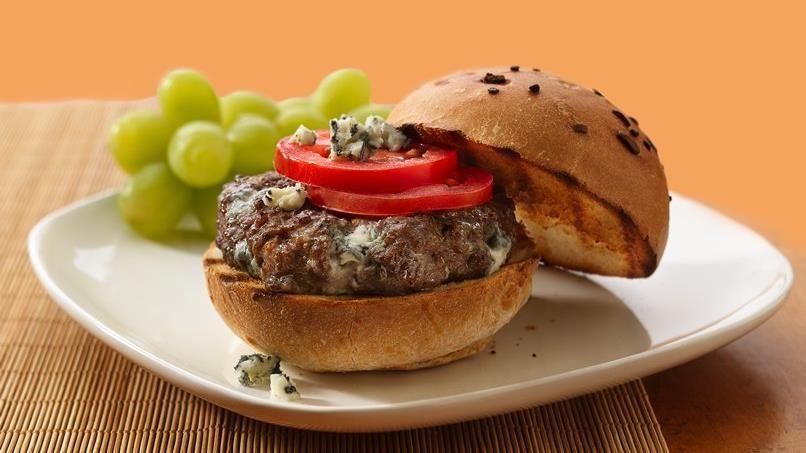 Garlic Pepper-Blue Cheese Burgers