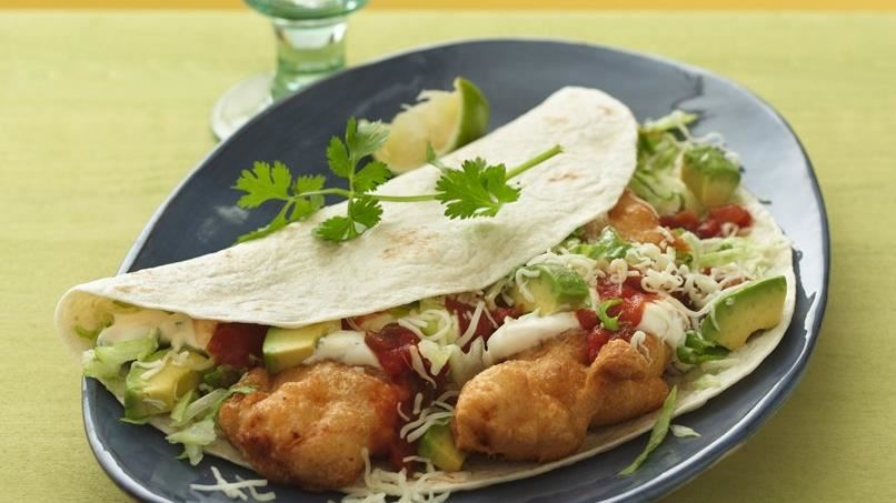 Crispy Fish Tacos with Spicy Sweet and Sour Sauce