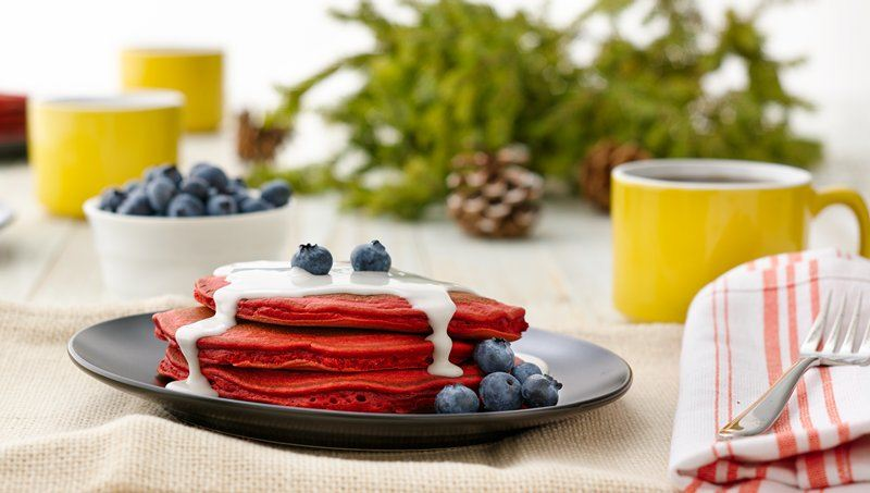 Red Velvet Pancakes with Coconut Syrup and Blueberries