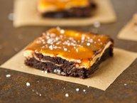 Vanilla Bean Cheesecake Fudge Brownies with Salted Caramel