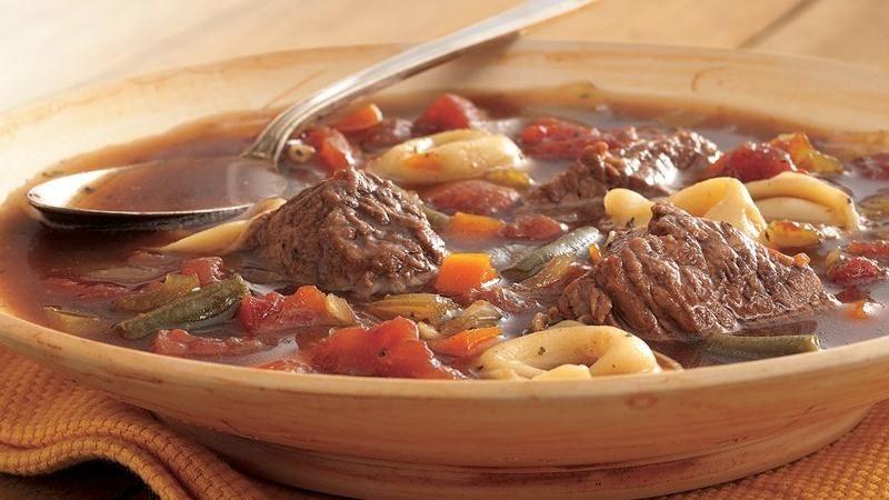 Slow-Cooker Beef-Tortellini Soup