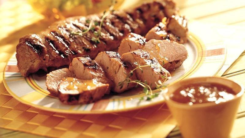 Grilled Peach- and Mustard-Glazed Pork Tenderloin