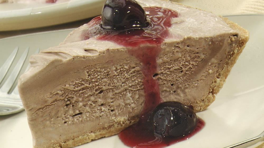 Frozen Chocolate Pie with Cherry Sauce recipe from Pillsbury.com