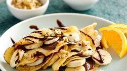 Crepes Rellenas de Banana, Crema de Avellana y Nueces