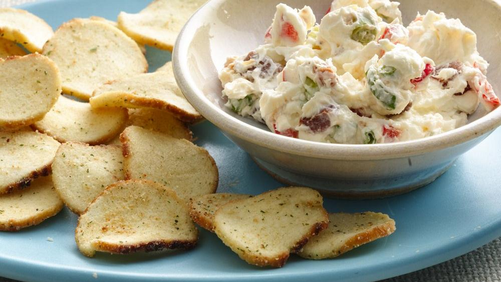 Cream Cheese Pepper Dip with Baguette Chips