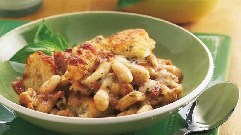 Chicken and White Bean Bruschetta Bake