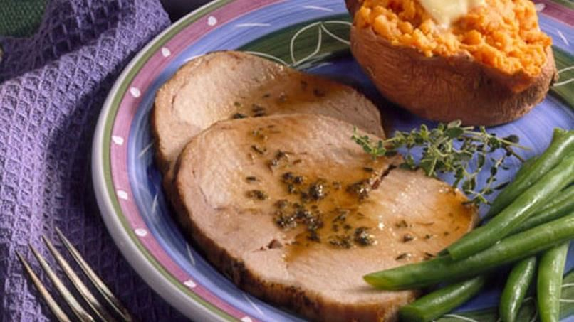 Pork Roast with Sherry-Plum Sauce