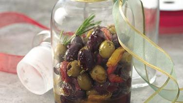 Citrus-Marinated Olives with Roasted Peppers