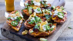 Slow-Cooker Chicken Chili-Stuffed Sweet Potatoes