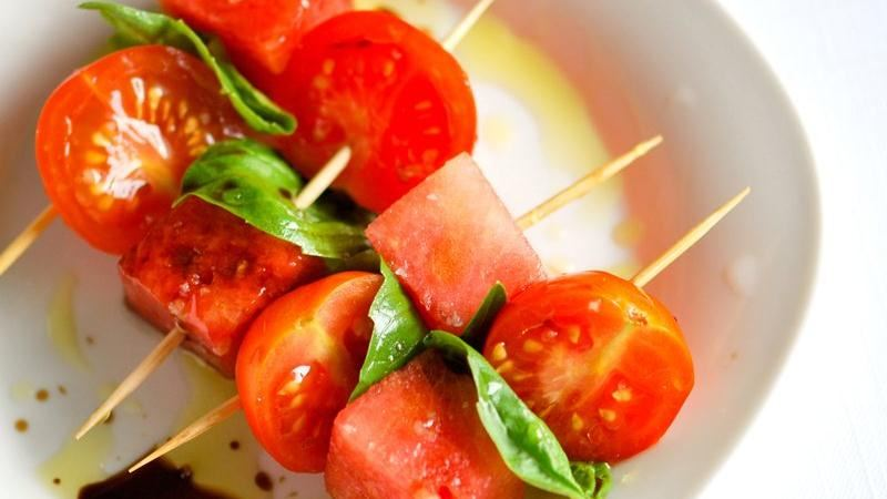 Watermelon and Tomato Skewers