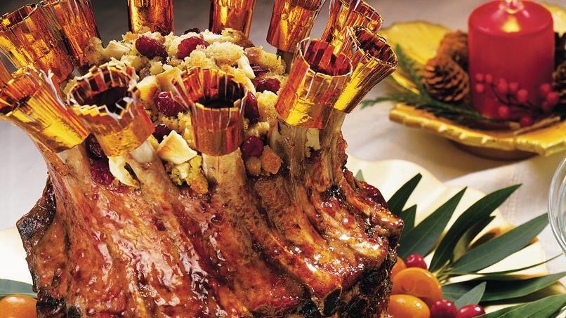 Cranberry-Apple Glazed Crown Pork Roast with Cranberry Cornbread Stuffing